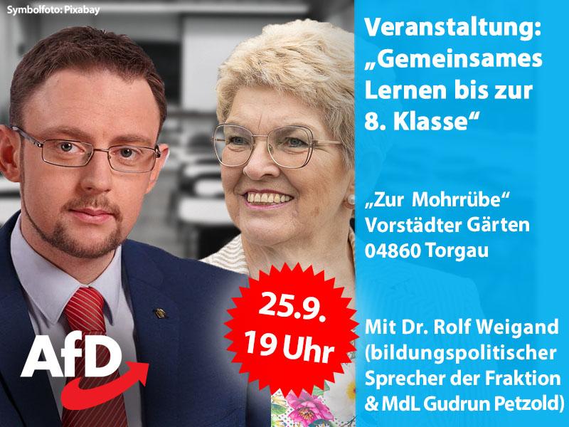 """AfD-Informationsveranstaltung, zum Thema """"Gemeinsames Lernen bis zur 8. Klasse"""""""